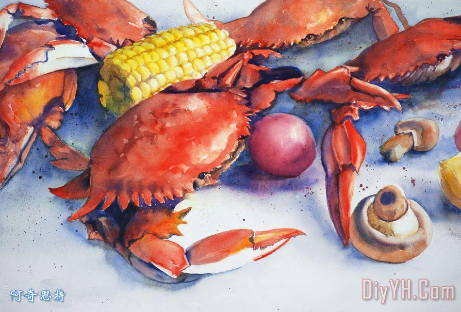 煮蟹装饰画_静物_动物_食物_水彩_海鲜_煮蟹油画定制