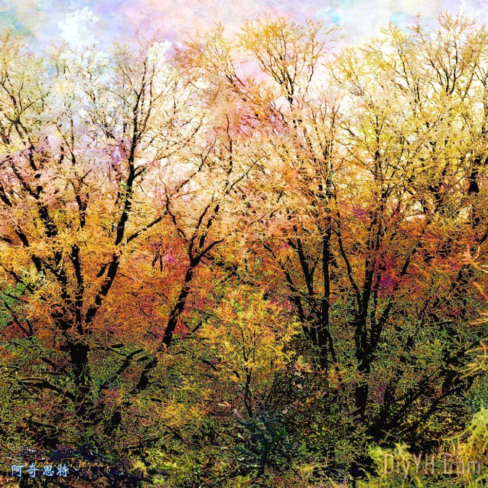 车削装饰画 风景 秋天 叶子 颜色 植物的叶子 车削油画定制 阿奇思特