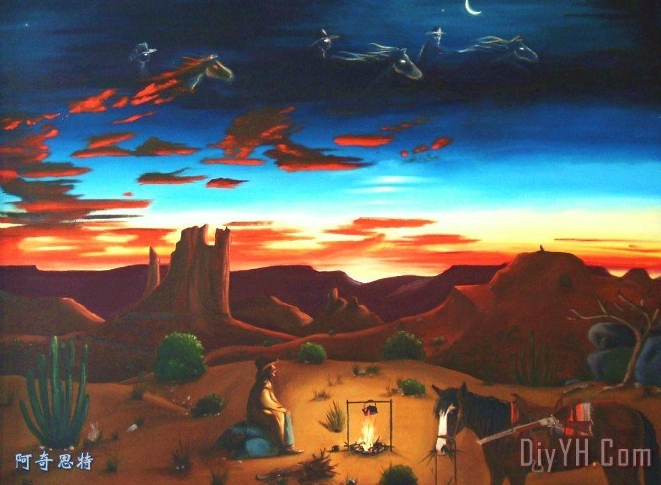 天空中的幽灵骑士装饰画_动物_马_牛仔_图片大全