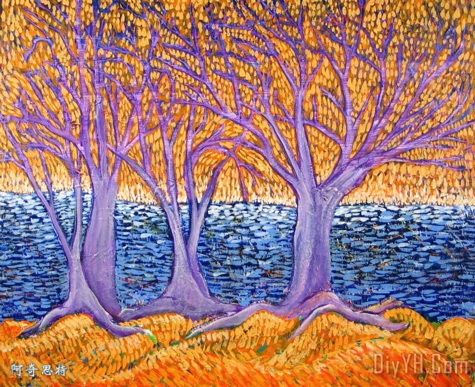 三棵树装饰画_风景_蓝色_树木_紫罗兰_橙色的_三棵树