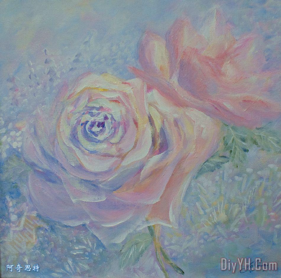 初学油画玫瑰画法步骤