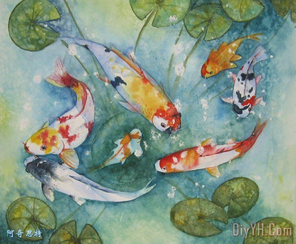 锦鲤与百合 - 锦鲤与百合装饰画