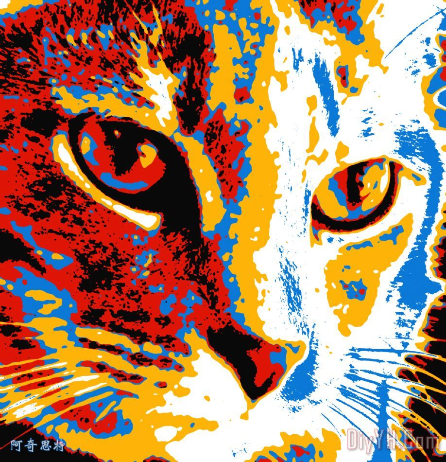 波普艺术猫装饰画_动物