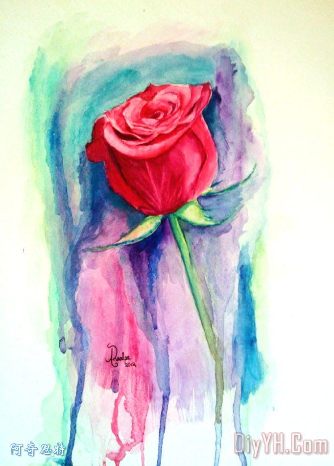 一朵玫瑰是一朵玫瑰装饰画 花卉 水彩 一朵玫瑰是一朵玫瑰油画定制 图片