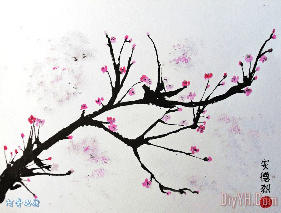 樱花装饰画 花卉 静物 树 树枝 樱花油画定制 阿奇思特
