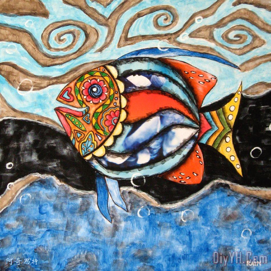 的死鱼日装饰画_抽象_动物_墨西哥的_亡灵节_的死鱼日