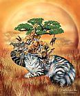 猫在Safari的帽子装饰画