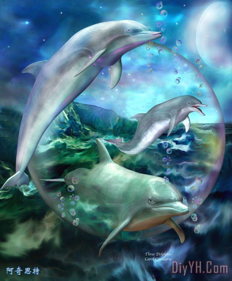 三海豚装饰画_海景_海洋_三海豚油画定制_阿奇思特