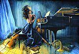 女音乐家音乐装饰画