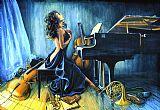 音乐与激情音乐油画
