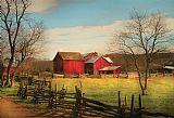 农场谷仓刚起来的路径装饰画