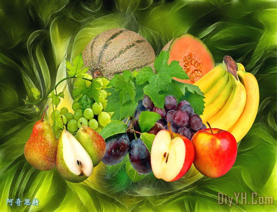 果园装饰画_水果_吃_食物_营养_果园油画定制_阿奇思特