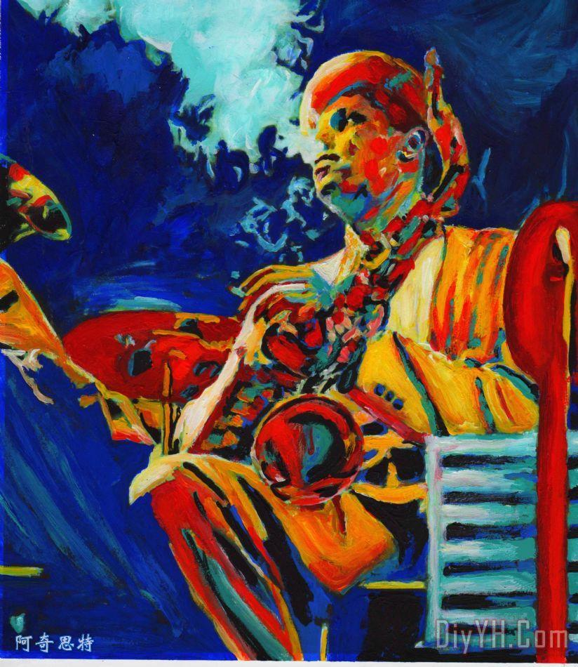 热萨克斯装饰画 音乐 人物 印象 鲜艳的 爵士乐 萨克斯管 蓝调 热萨克斯