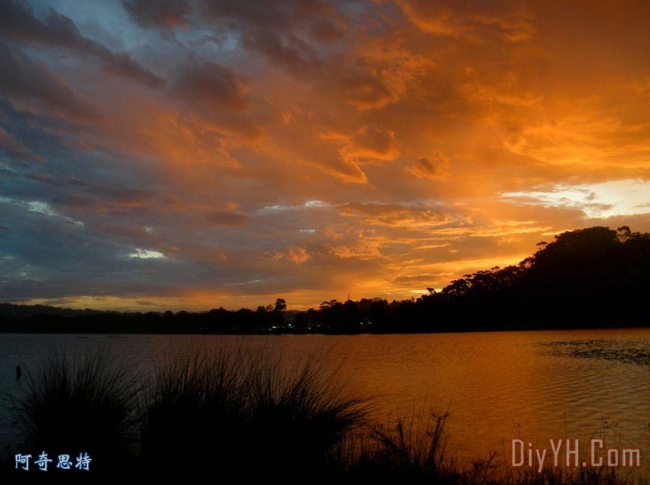 橙色晚霞装饰画 风景 摄影 橙色晚霞油画定制 阿奇思特