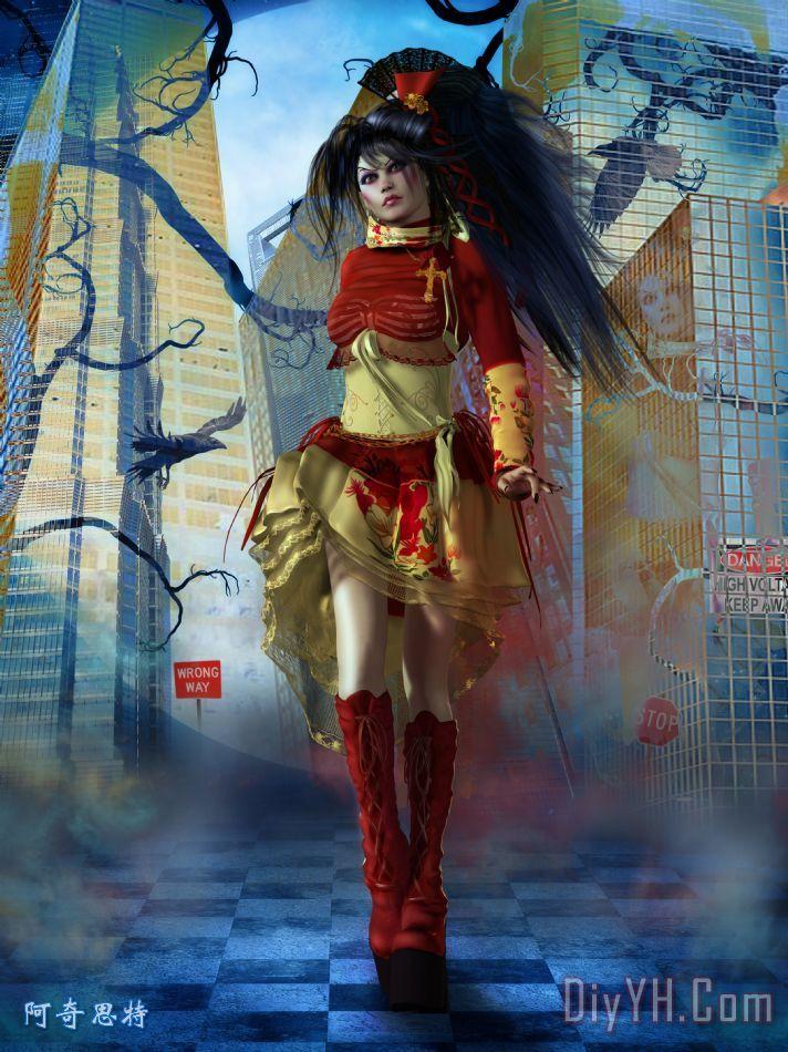 洛丽塔裙子设计图 手绘展示