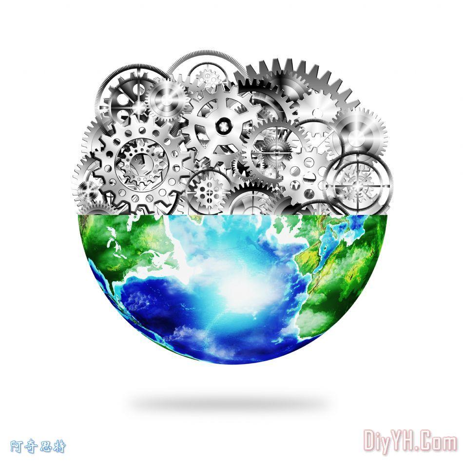 地球仪齿轮和齿轮装饰画_背景_商业_地球仪齿轮和齿轮