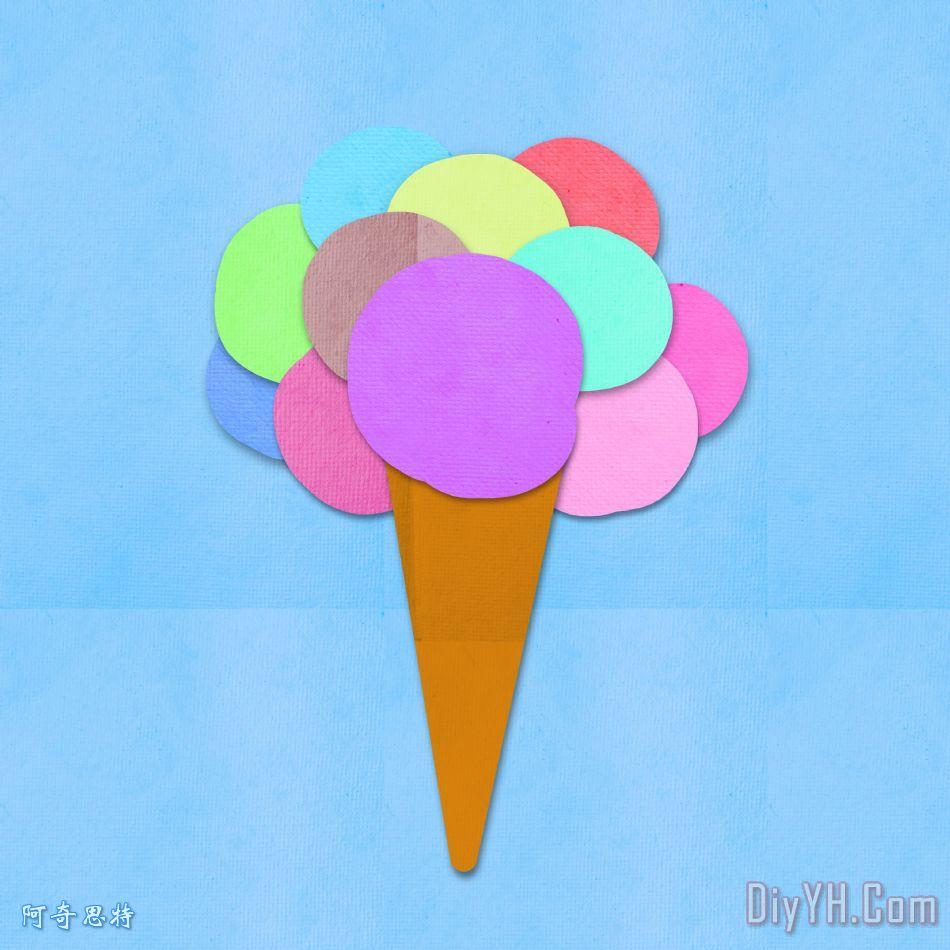 冰淇淋在手工纸