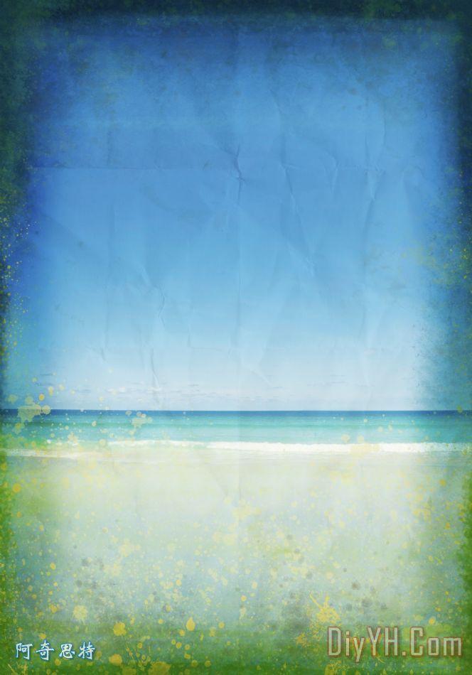大海和天空在旧纸 - 大海和天空在旧纸装饰画