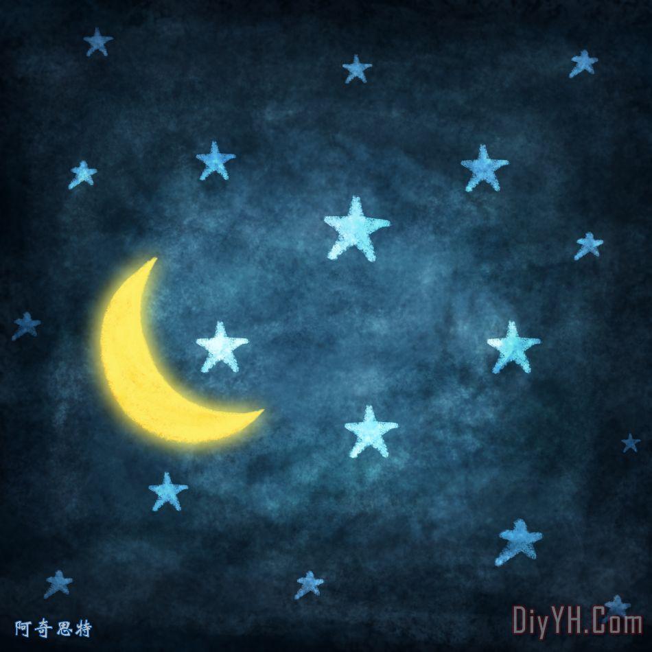 星星和月亮绘画用粉笔