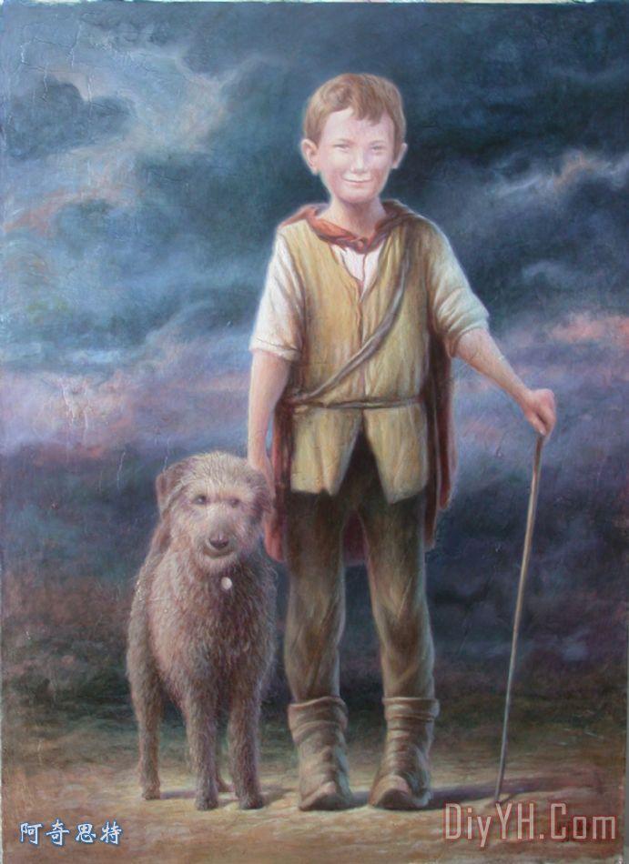 男孩与狗装饰画_风景_动物_肖像画_宠物_男孩与狗油画