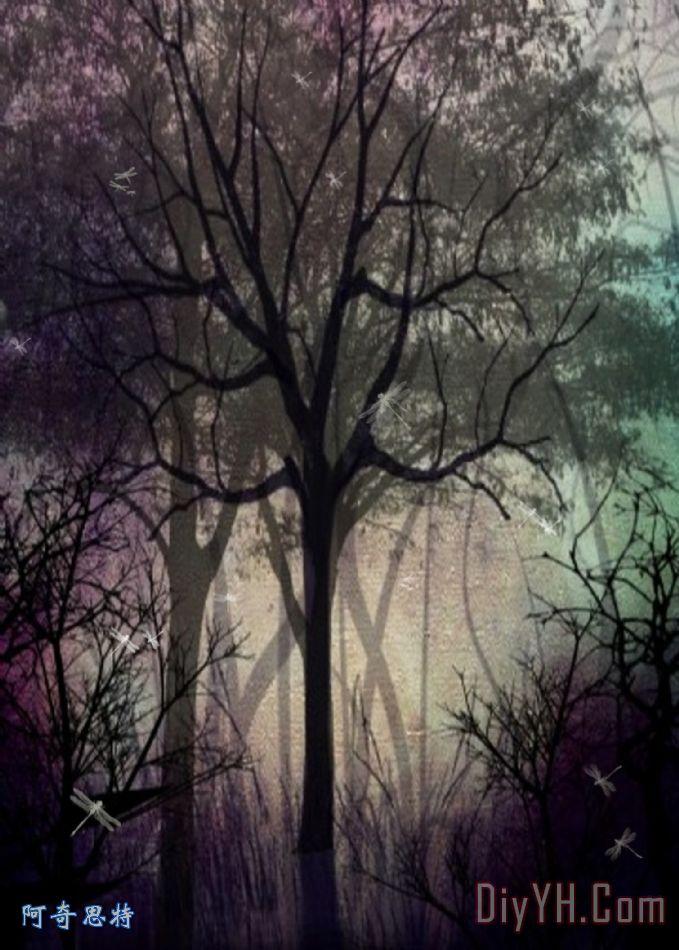 暮光森林装饰画_树木_紫色的_暮光森林油画定制