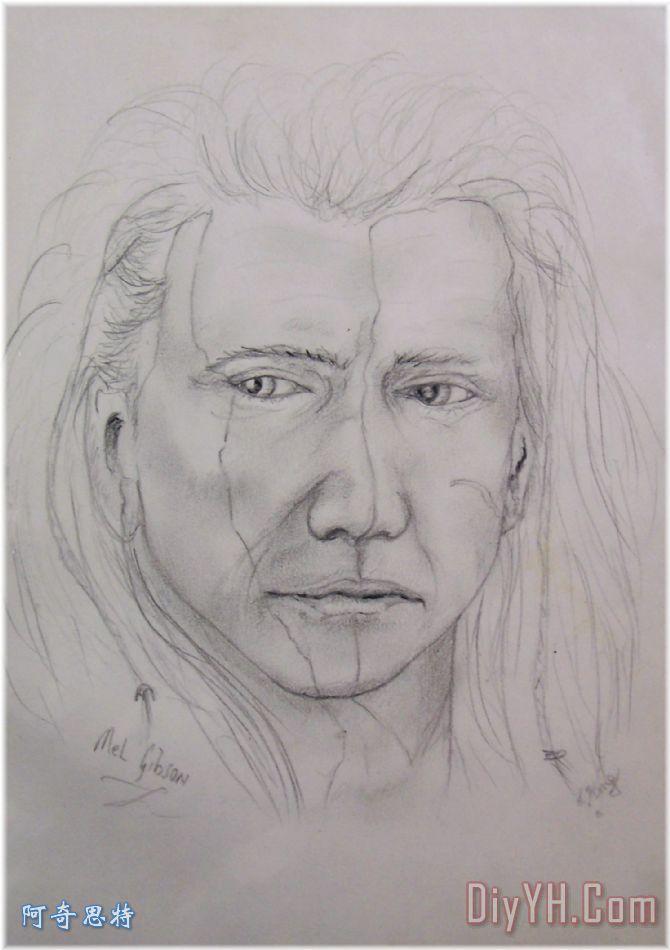 梅尔吉布森的勇敢的心装饰画_人物_肖像画_素描_男人