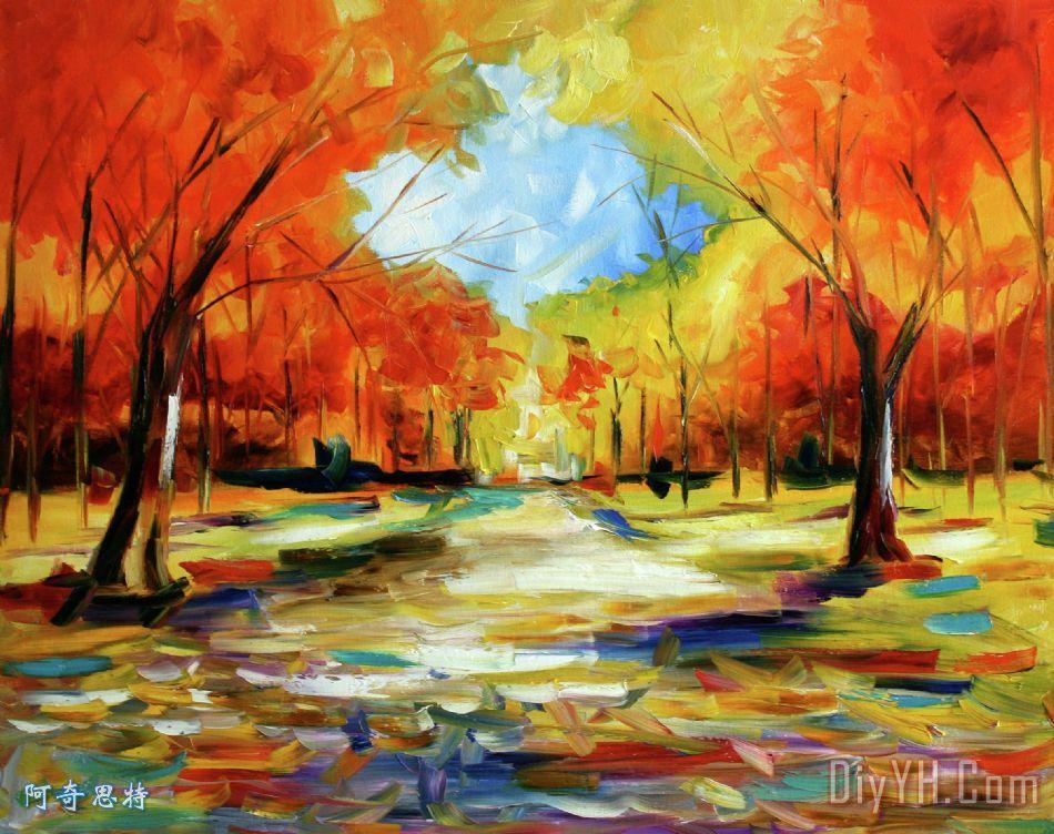 在秋天的树木漫步装饰画_风景_秋季自然景观_在秋天的