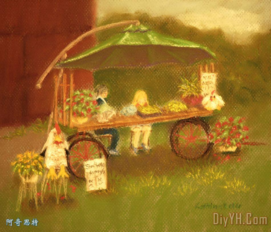 农场新鲜装饰画_风景_农民_四轮的运货马车_市集_蔬菜