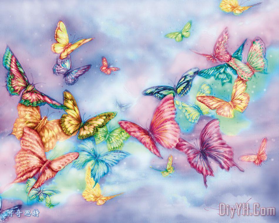 蝴蝶雾装饰画_动物_美丽的