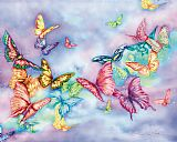 蝴蝶雾动物油画