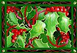 圣诞冬青和浆果装饰画
