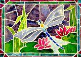 蜻蜓和睡莲的彩绘玻璃装饰画
