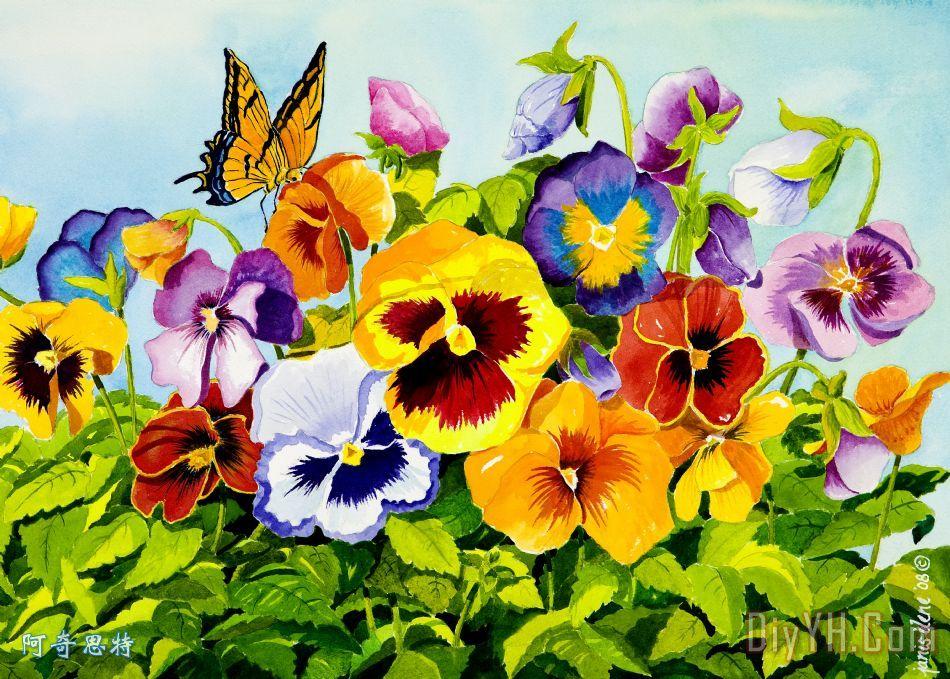 三色堇与蝴蝶 - 三色堇与蝴蝶装饰画