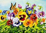 三色堇与蝴蝶美式田园风格油画