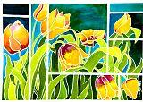 在彩绘玻璃郁金香装饰画