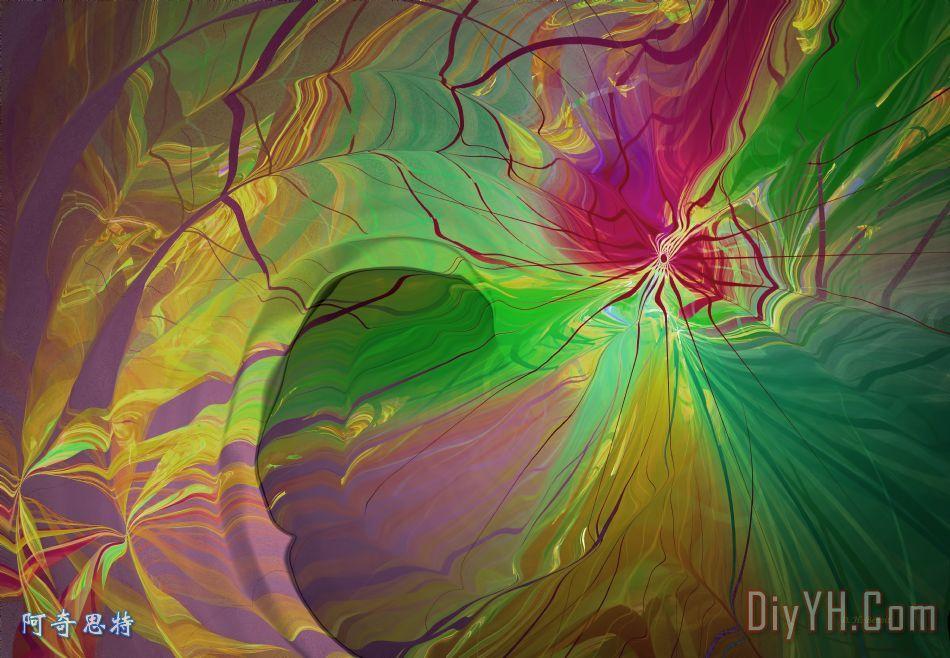 多色彩虹装饰画_风景_抽象_绿色_红色_数字_多色彩虹