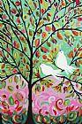 2鸟在树绿粉红色的天空装饰画