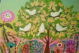 5只小鸟在绿树装饰画