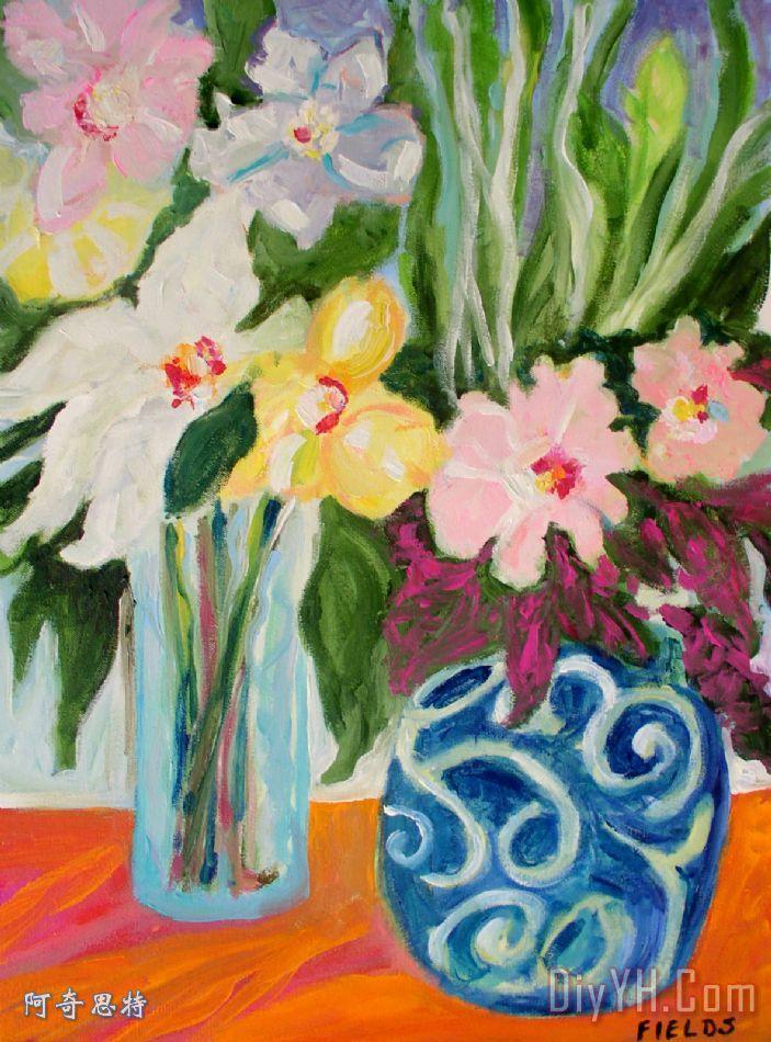 两个蓝色花瓶