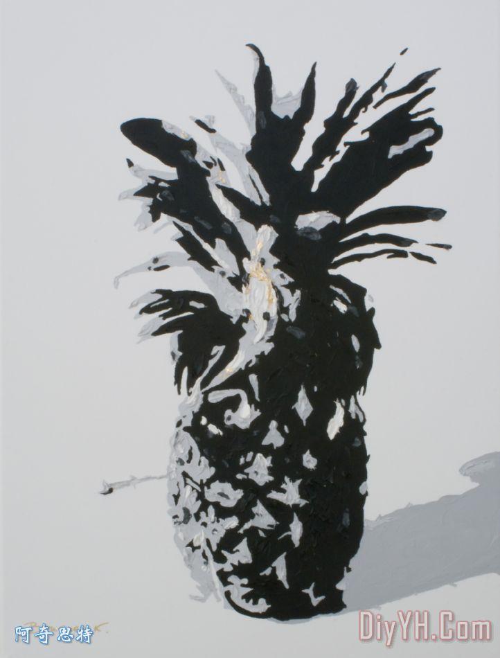 菠萝装饰画_凤梨_黑白_布面油画_菠萝油画定制