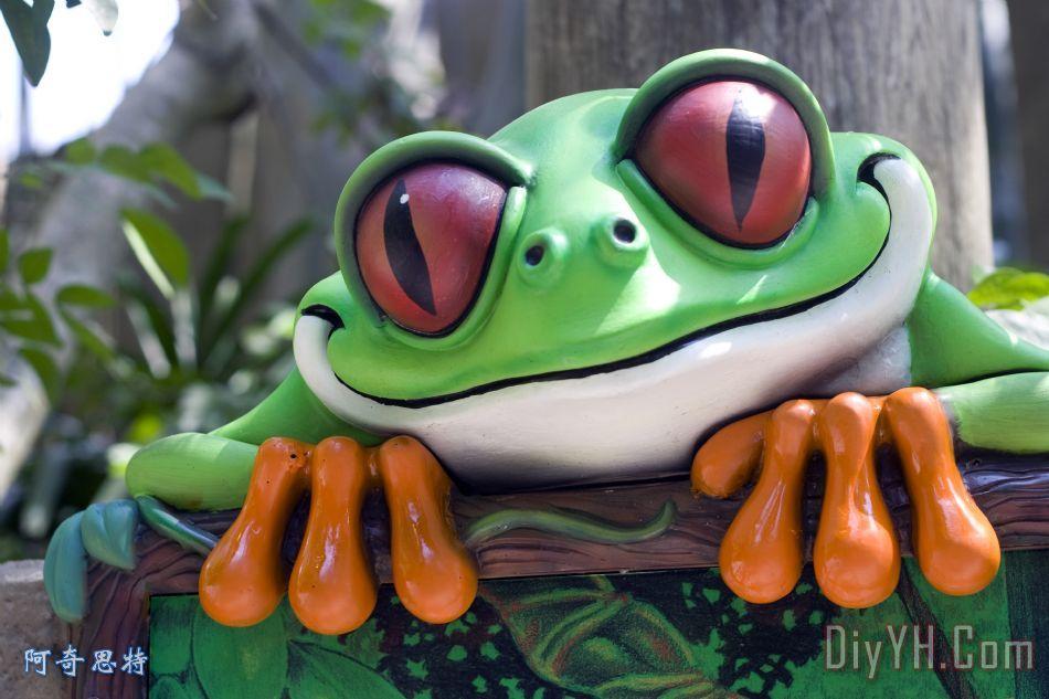 一个非常绿色青蛙装饰画_动物