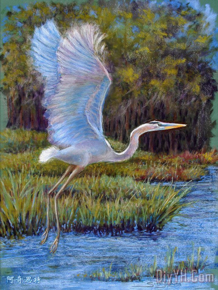 蓝色的苍鹭在飞行装饰画_风景_动物_印象_水_鸟_粉彩
