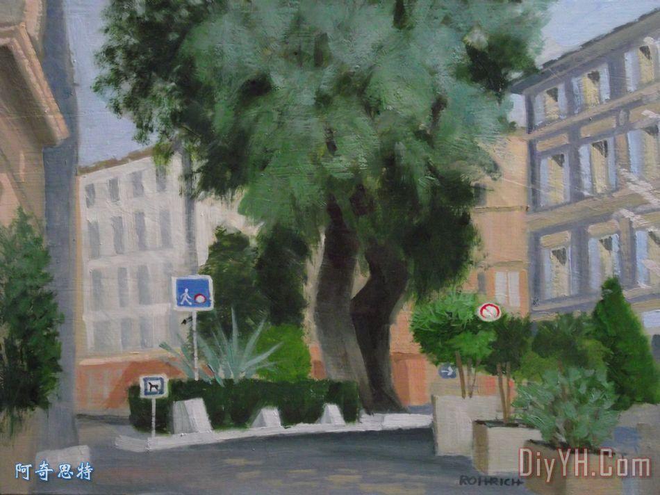 一棵老槐树装饰画_法国南部_白蜡树_一棵老槐树油画