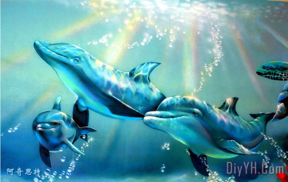 海豚装饰画_海景_海洋_热带的_哺乳动物_海豚油画定制