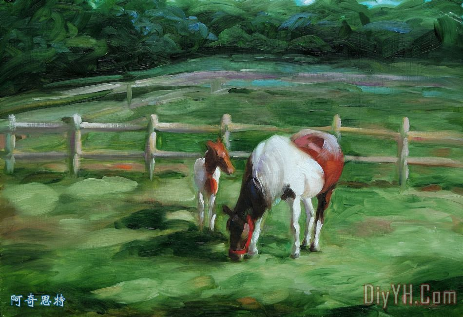 马和马驹装饰画_风景_动物_图片大全_阿奇思特
