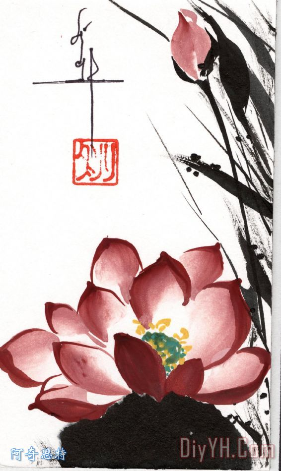一年级黑板报画莲花