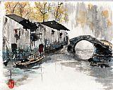 大运河上的苏州拱桥美式田园风格装饰画
