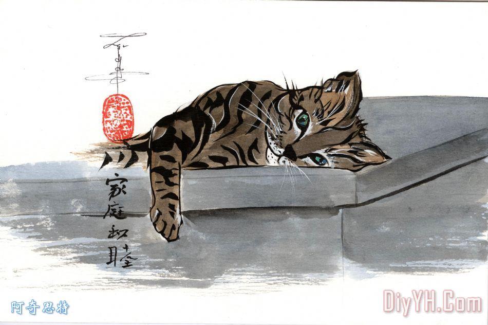 猫装饰画_动物_猫油画定制