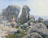 春天在岩石海岸装饰画