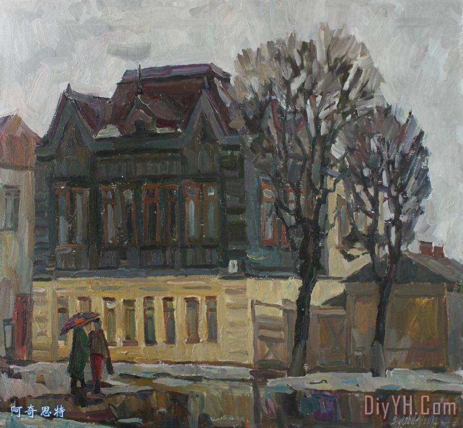 老房子在老城区装饰画_风景_住宅_路_雪花_老房子在老
